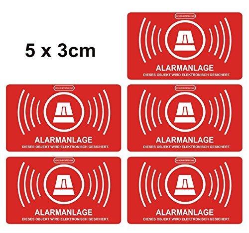61PKTohH+wL - 5 Stück Aufkleber Alarmanlage, alarmgesichert, 5 x 3cm Aufkleberset Art. 047_5er außen